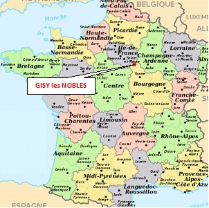 Carte de France, situation de Gisy les Nobles
